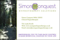 Simon Conquest Hypnotherapy Solutions Business Card
